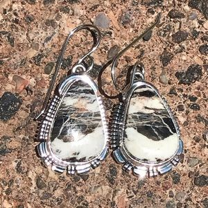 Navajo Sterling White Buffalo Dangle Earrings